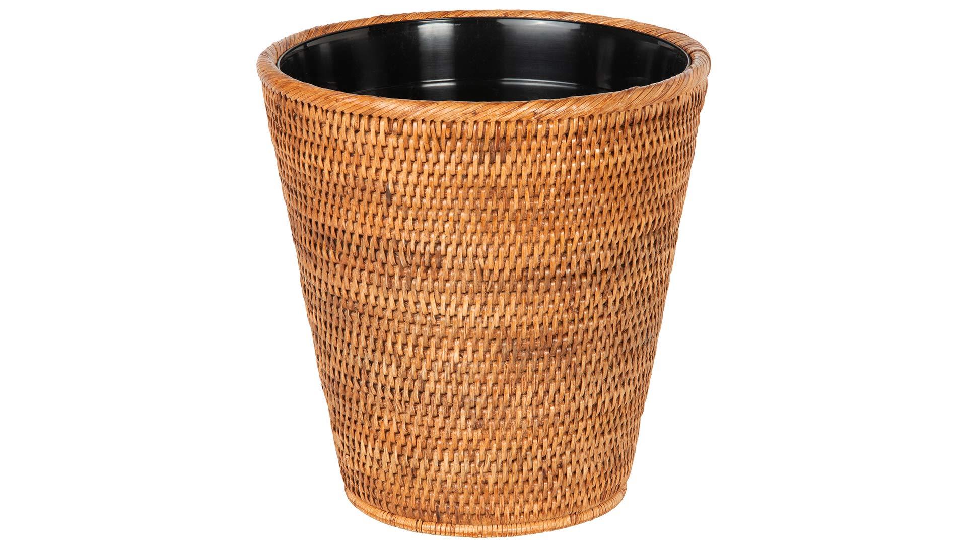 Kouboo La Jolla Rattan Plastic Insert, Honey-Brown Waste Basket by Kouboo
