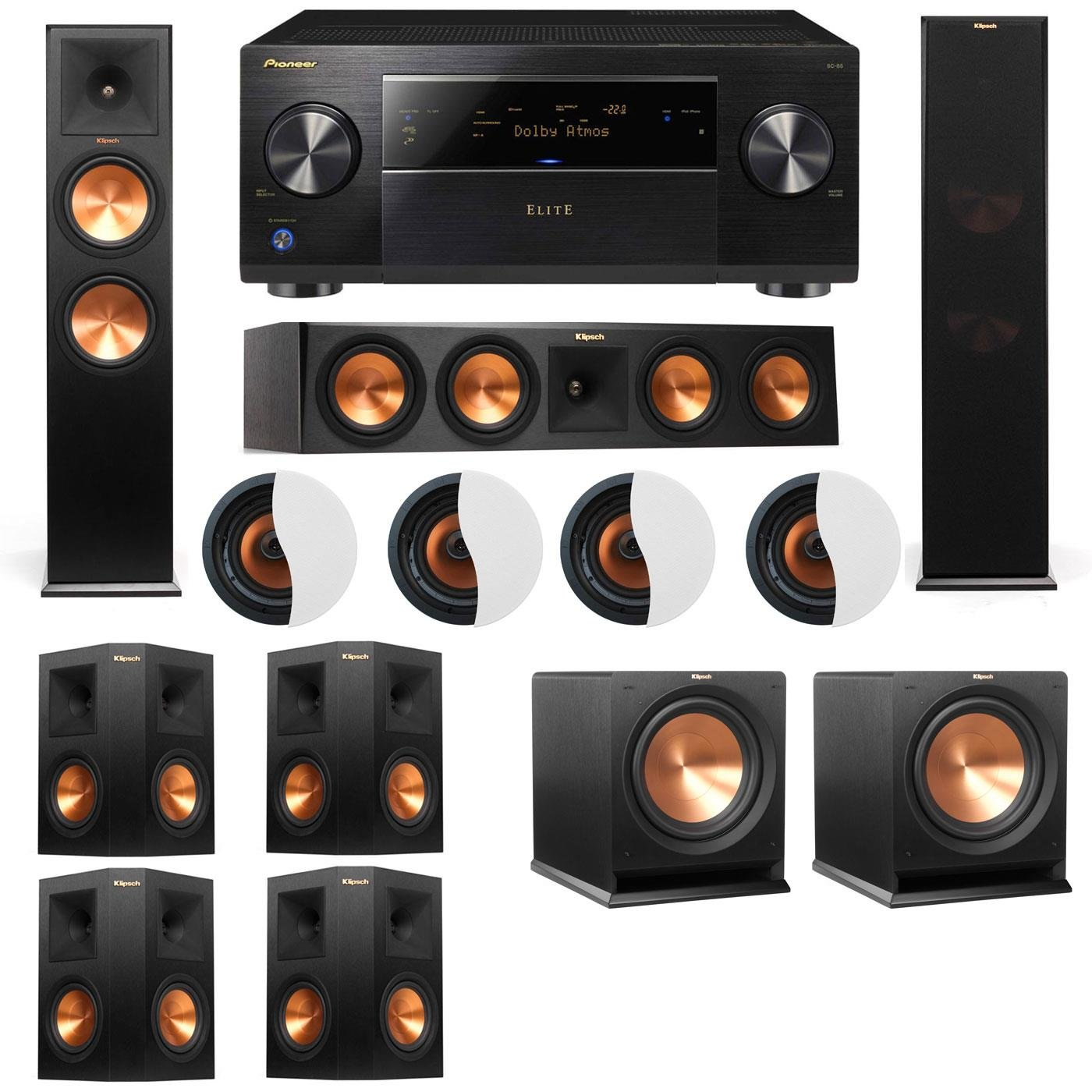 Dolby Atmos 7.2.4 Klipsch RP-280F Tower Speakers R112SW with Pioneer Elite SC-85 by Klipsch