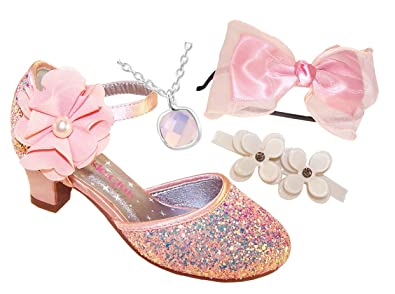 cf3876f6ed8a5 Girls Childrens Peach Glitter and Satin Heeled Special Occasion Shoes