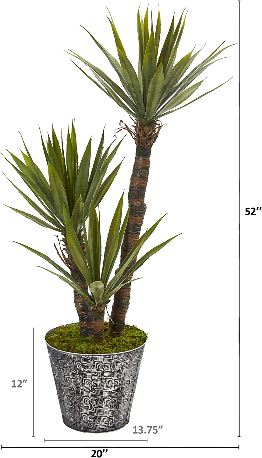 Amazon Com Nearly Natural 52in Yucca Artificial Embossed Black Planter Silk Trees Green Furniture Decor