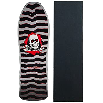 10d77517857cb POWELL PERALTA Skateboard Deck GEEGAH RIPPER SILVER Old School with GRIP   Amazon.co.uk  Sports   Outdoors