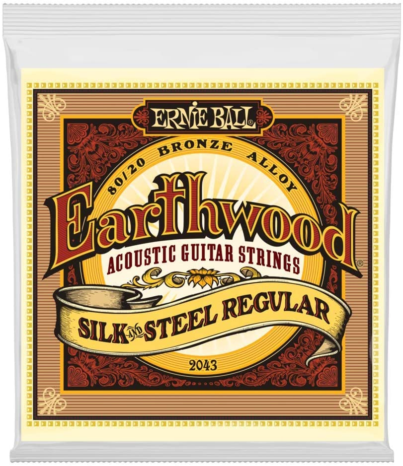 Cuerdas para guitarra acústica de bronce regular de 80/20 de Ernie Ball Earthwood Silk & Steel - 13-56 Gauge