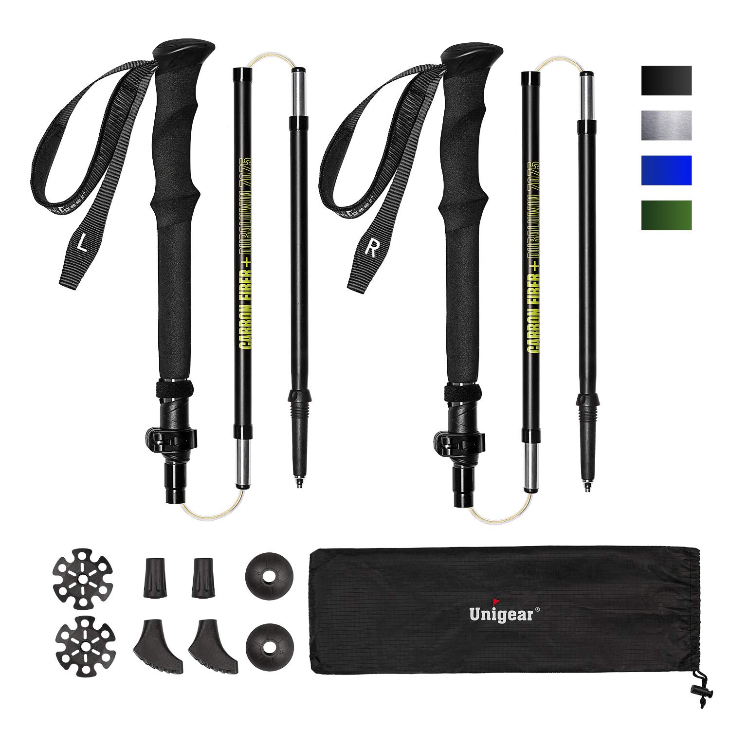 Unigear Trekking Poles, Collapsible and Adjustable Hiking Walking Sticks with Quick Lock System, Super Strong and Ultralight Carbon Fiber and Aluminum 7075 for Camping, Backpacking, Climbing