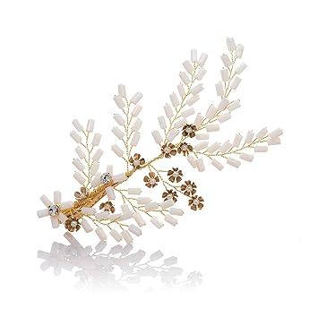 Awei Damen Clips Haarschmuck Braut Mit Perlen Band Haar Band Kopf