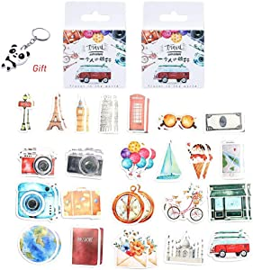 Color Scissor 276 Pieces Various Special Shaped Stickers, 6 Packs Travel Street View Series Decals for Sticker DIY