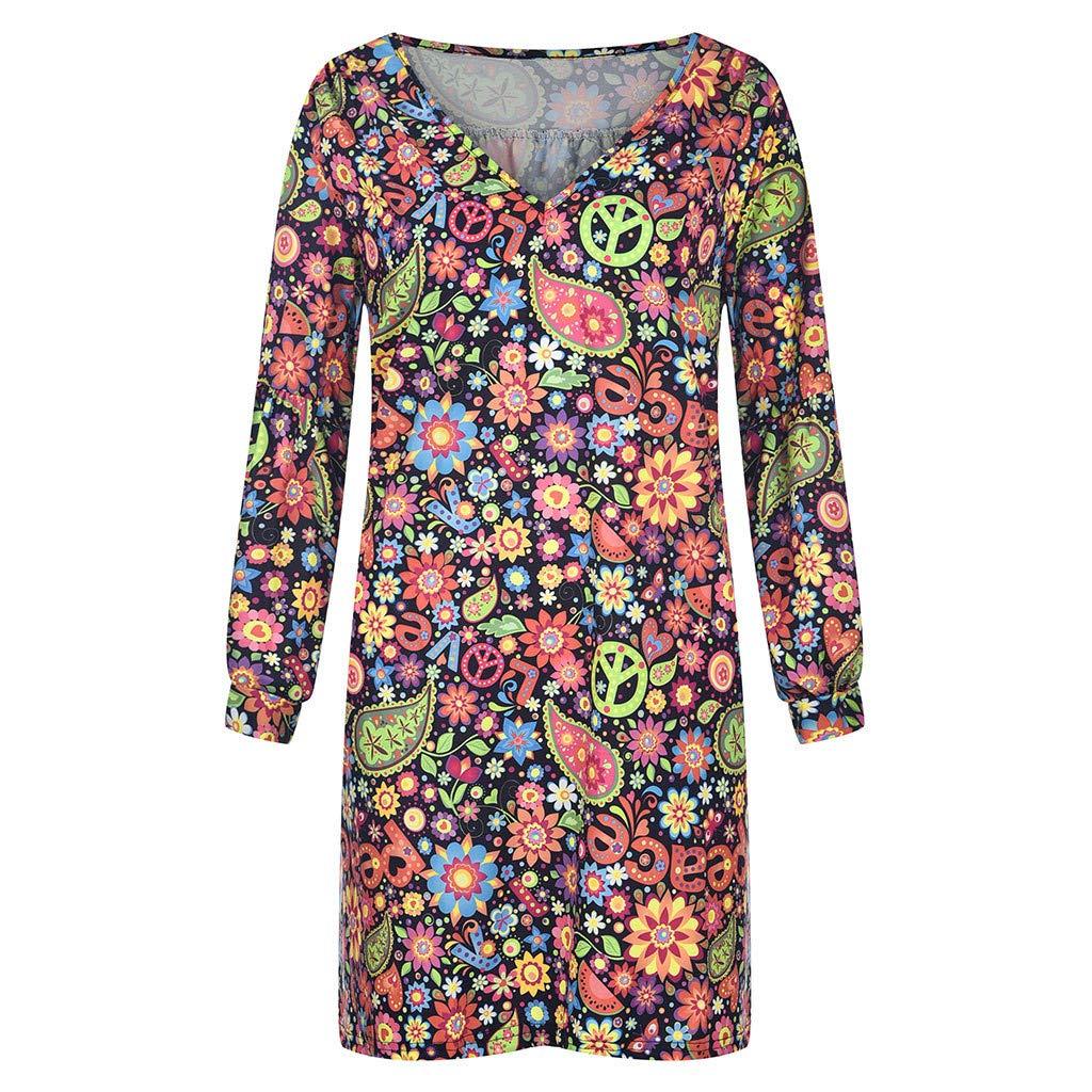 Millenniums Robe Femmes Chemise Manche Longue Robes de Plage ete D/énud/ées Casual Robe Imprim/ée Irr/égulier Robe de Soir/ée Grande Taille /Él/égante F/ête Cocktail