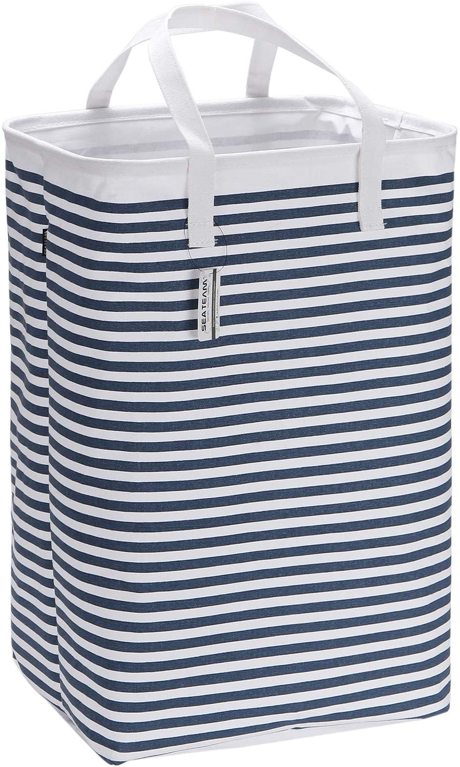 "Sea Team 23.6"" Large Size Canvas Fabric Laundry Hamper Collapsible Rectangular Storage Basket with Waterproof Coating Inner and Handles, Navy Blue & White Stripe"