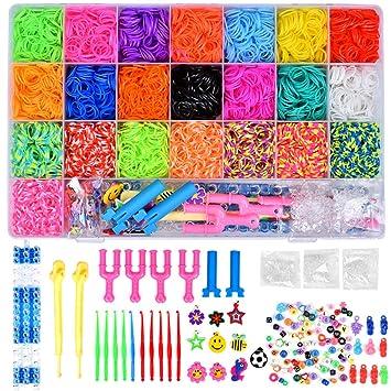 a2d78f8e94fe Towinle Caja Pulseras Gomas 6800 Bandas de Silicona Para Hacer Pulseras De  Colores Loom Kit para Pulseras