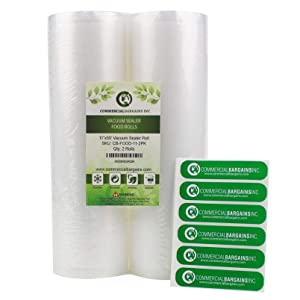 "Commercial Bargains 2 Jumbo 11"" x 50' Commercial Vacuum Sealer Saver Bags Sous Vide Food Storage"