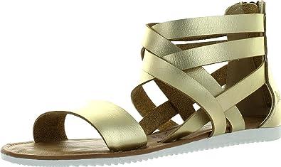 Blowfish Womens Ella Fisherman Strappy Fashion Sandals,Gold Dyecut,6