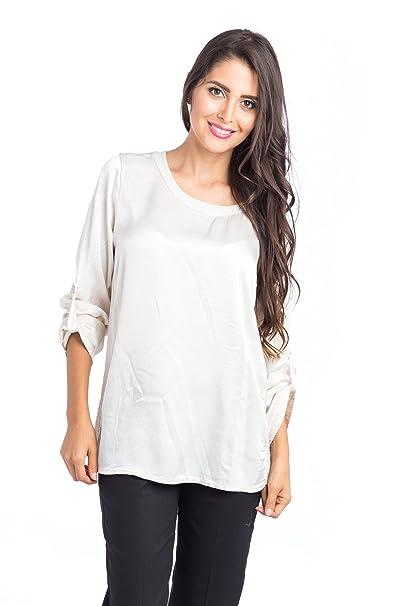 Abbino 63450 Blusa Top para Mujer 5 Colores - Entretiempo Primavera Verano Otoño Mujer Femeninas Elegantes