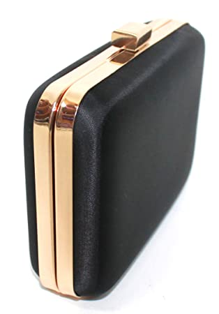a0886aa0765 HUGO BOSS NUIT LADIES BLACK HARD CASE CLUTCH BAG WITH GOLD TRIM ...