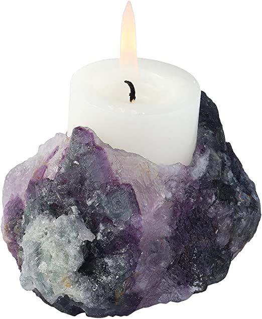 Candle Holder Rose Quartz Rough Tealight Holder Ornament