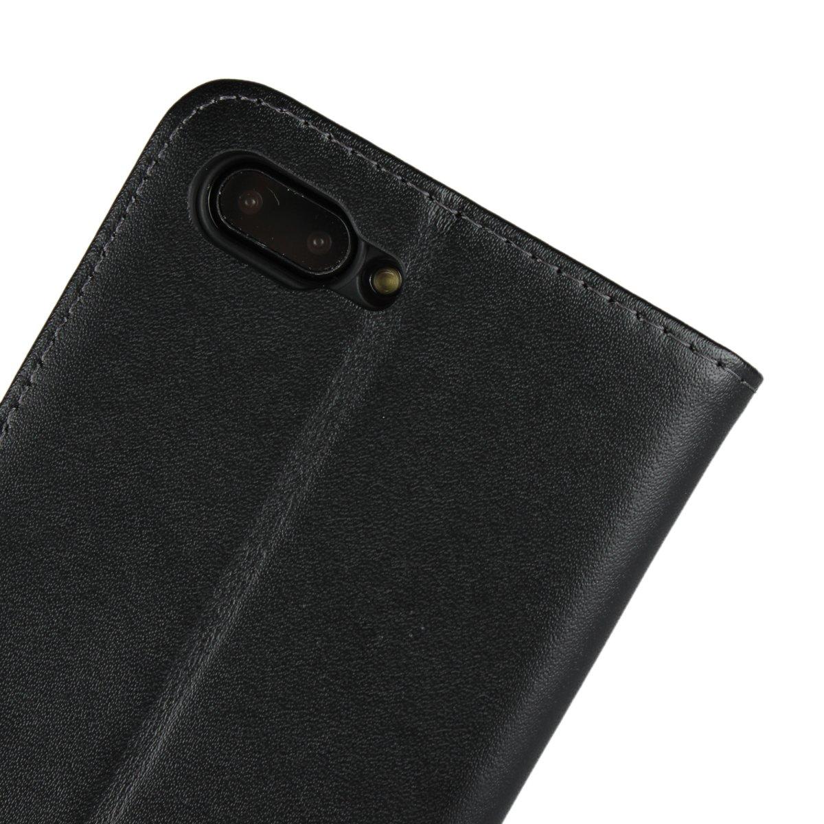 Acceso a Botones Cierre Magn/ético Soporte Plegable Funda Cuero Resistente Copmob Funda Huawei Y7 Prime,Funda Huawei Enjoy 7 Plus//Y7 2017 Negro Ranuras para Tarjetas y Billetes Estilo Libro