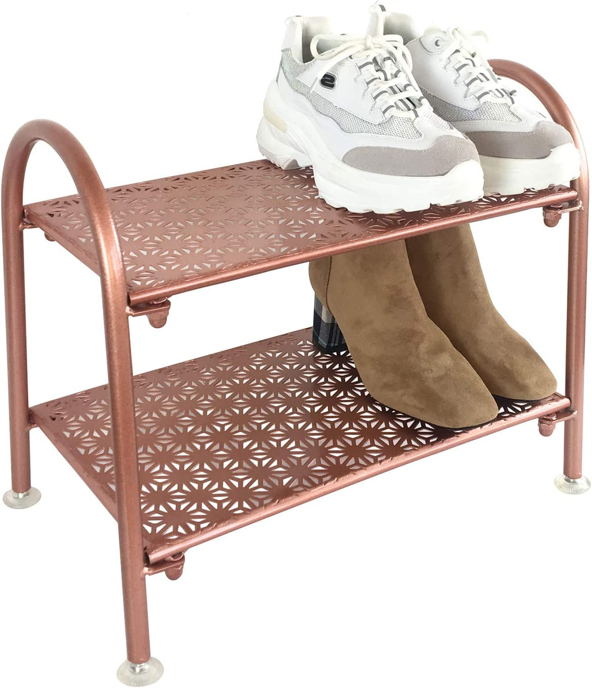 MsFun Rose Gold 2 Tier Star Shoe Rack - Shoe Rack for Entryway - Shoe Rack Organizer Shoes Boots - Great for Home Office and Laundry Room (Rose Gold Small)