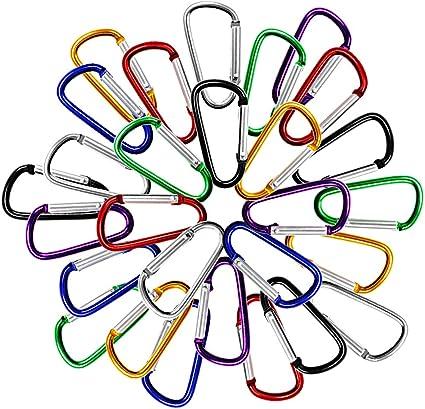 6 Pack 3 Carabiner Caribeaners Clips with Keyrings,Aluminum D Shape Ring Karabiner Keychains Bulk Hook Green
