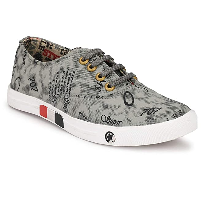 T-Rock Vision Men's Sneaker Shoes White Graphic Printed Canvas Stylish Footwear / Synthetic/ All Sizes (6)