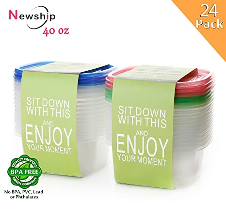 Amazoncom 24 Pack Food Storage Containers with Lids NewShip BPA