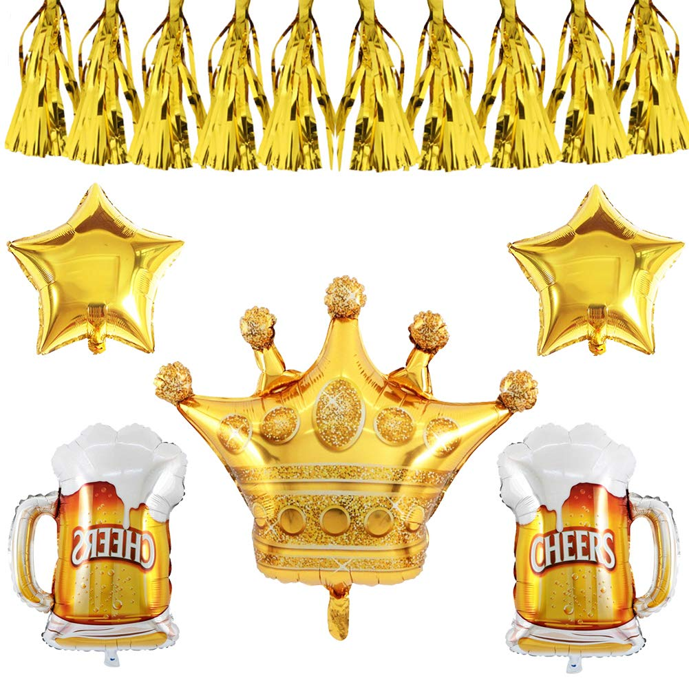 PALKSKY Party Decoration Set/Large Foil Helium Balloons - Golden Crown balloon/Cheers Beer balloons/Star Mylar Balloons/Tassel Pendant for Birthday ...