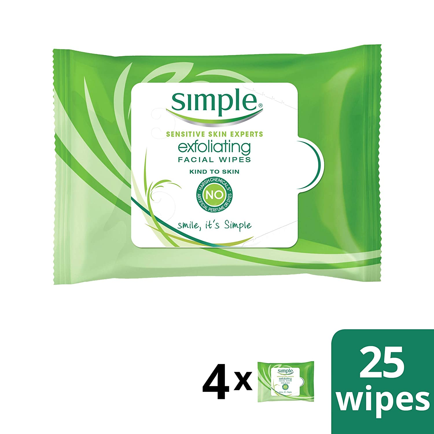 Simple with Vitamin E Oil to Moisturize Skin Exfoliating Facial Wipes 25 wipes, 4 count
