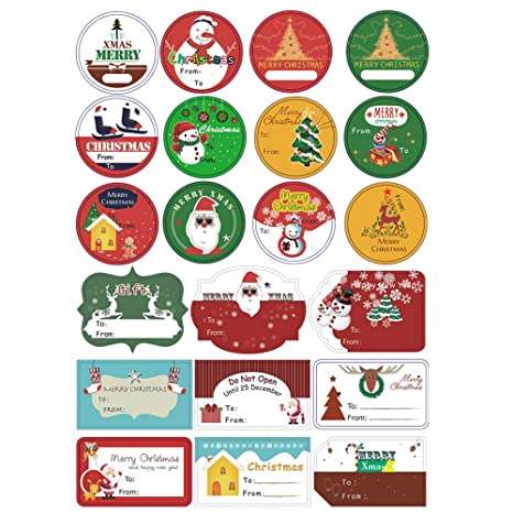 amazon com tugao 105 pcs christmas gift tags stickers with 21