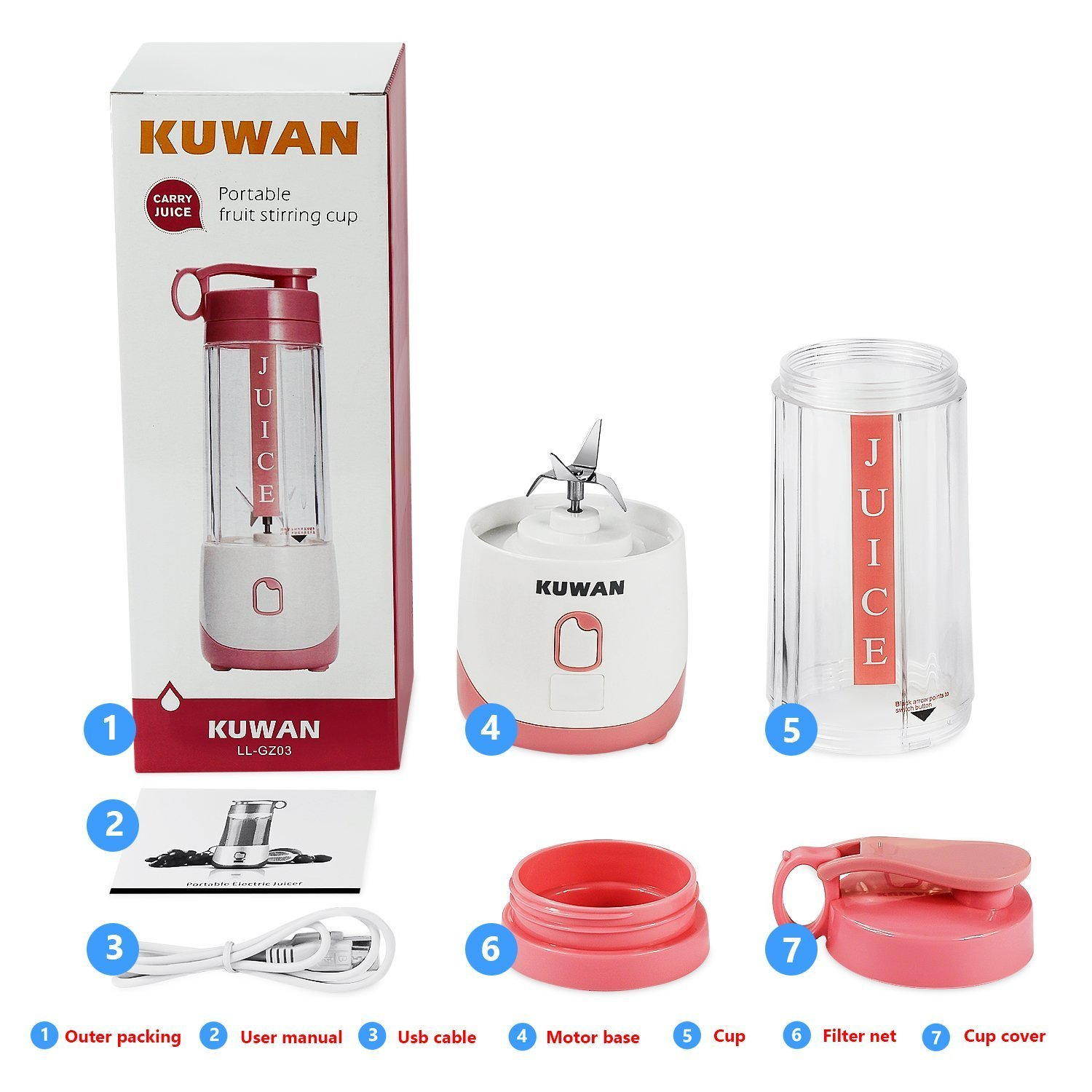 KUWAN Mini Electric Fruit Juicer Rechargeable portable Blender with USB Charging Cable install safety protection program by KUWAN (Image #1)