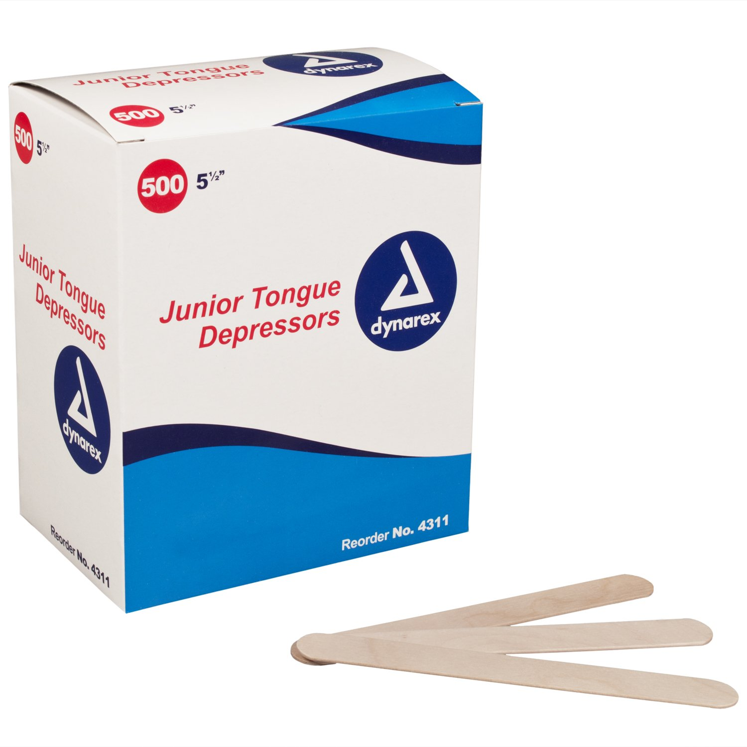 Dynarex 5 1/2 Inches Tongue Depressor Non-sterile Junior - 500 Ea