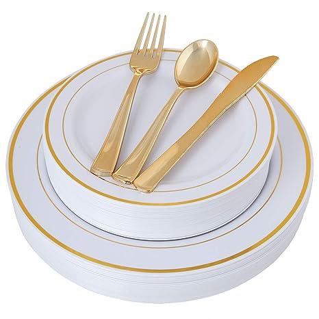 100 Piece Gold Plastic Plates With Gold Silverware, Premium Plastic  Dinnerware Set Includes : 20