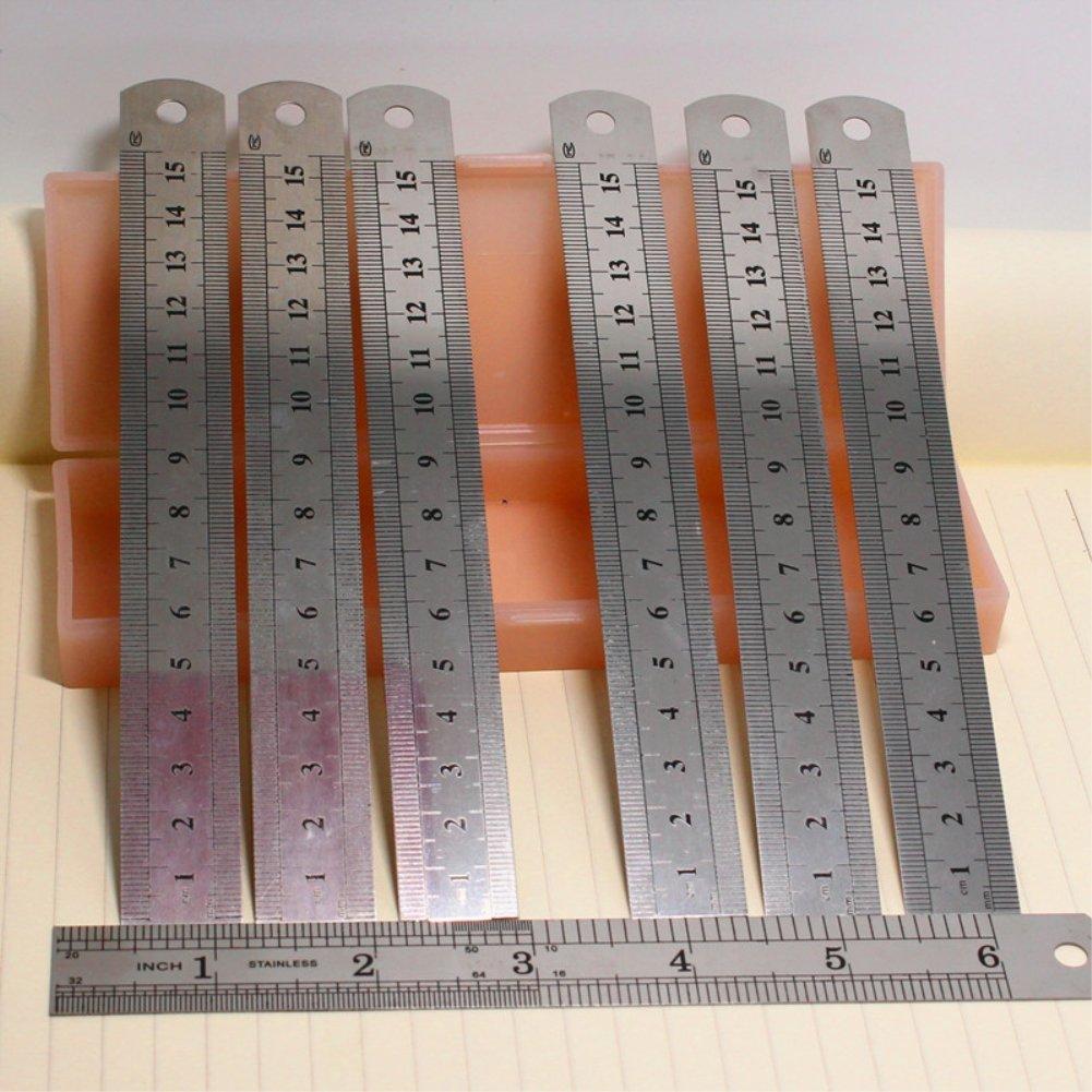 1/x Toruiwa righelli in acciaio INOX righello di misura righello disegno righello template Learning Tools cancelleria 15/cm argento