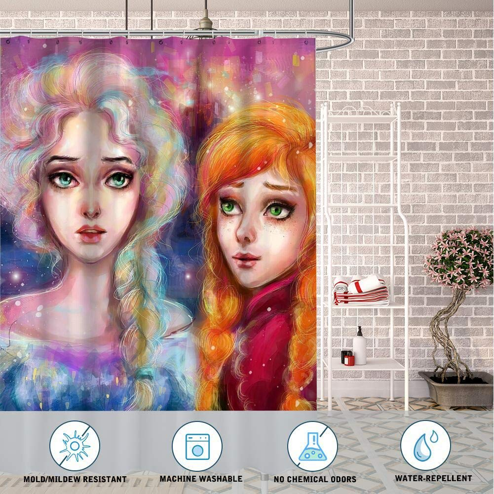 DISNEY COLLECTION Shower Curtain 72X72 Inch Frozen Movies Disney Green Eyes Fantasy Girl Bathroom Cartoon Cute Waterproof