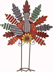 "YOFIT Thanksgiving Metal Standing Turkey Decoration, 17"" DIY Assembling Freestanding Turkey Decor for Thanksgiving Harvest Day Home Decorations"