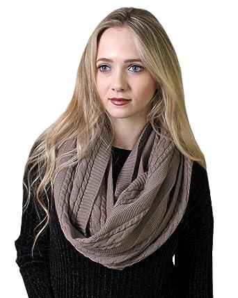 1f6227a3f8f0b Women's 100% Organic Cotton Cable Knit Infinity Scarf, Super Soft Stretch  Warm Non-