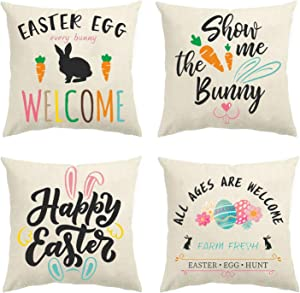 Glaring Easter Decorations Pillow Covers 18x18 Set of 4 for Bunny Rabbit Home Decor Throw Pillows Cover