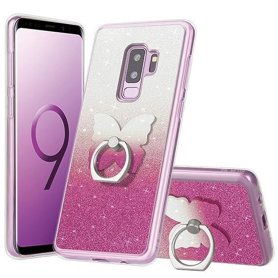 online store df00c 1c838 Samsung Galaxy S9 Plus Case Pink, Samsung Galaxy S9 Plus Glitter Case with  Ring Holder [Anti-Scratch] Fashion Soft TPU Rotating Holder Grip Stand ...