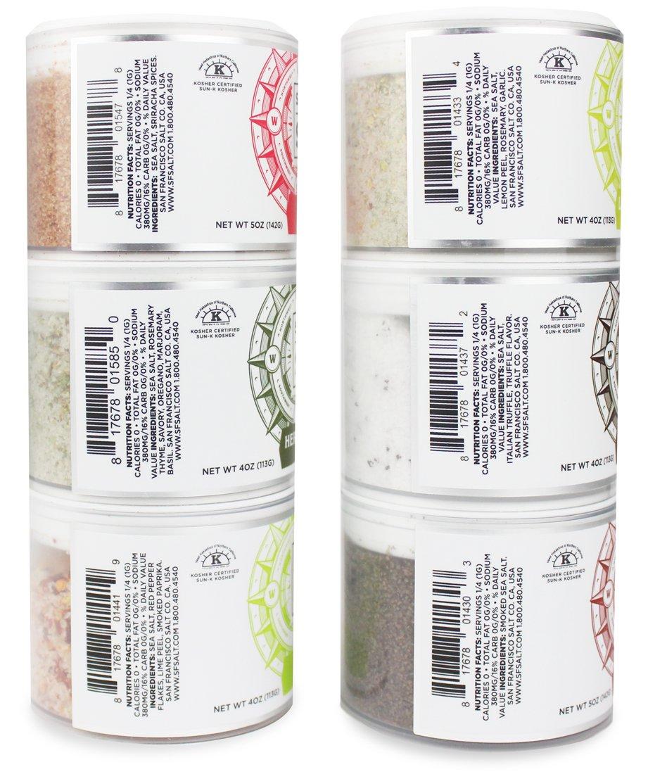 Stackable Salt Shakers - FLAVOR BOOSTER GIFT SET - Chili Lime Sea Salt, Sriracha Sea Salt, Lemon Rosemary Sea Salt, Herbs de Provence Sea Salt, Smoked Cherrywood Sea Salt, Black Truffle Sea Salt by San Francisco Salt Company (Image #6)