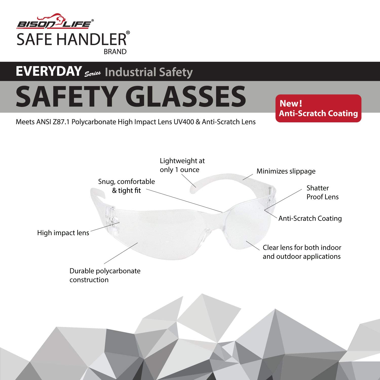 BISON LIFE Safety Glasses | One Size, Clear Protective Polycarbonate Lens, Clear Temple, 12 per Box (Case of 12 boxes, 144 pairs total) by BISON LIFE (Image #8)