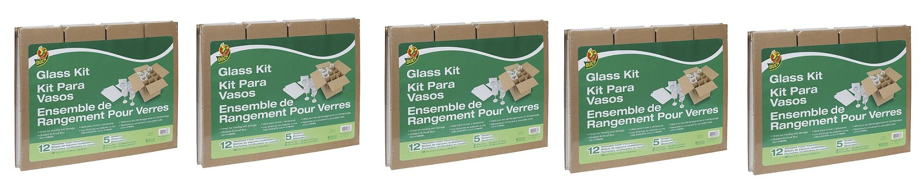 Duck Brand Glass Kit, 5 Corrugate Dividers and 12 Foam Pouches, Box Not Included (1362685) (5'PACK)
