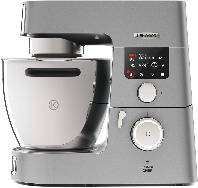 mit Kochfunktion, Induktionskochfeld von 20, 180/°C, 24 voreingestellte Programme, 6,7 l R/ührsch/üssel, 1500 W, inkl. 9-teiligem Set Kenwood Cooking Chef Gourmet KCC9060S K/üchenmaschine silber