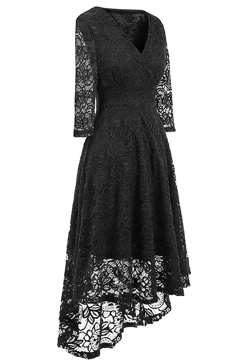 4bace86f8644 Women Lace Dress Vintage 50 s Retro 3 4 Sleeve Floral Swing Party Cocktail  Wedding Midi Dress  Amazon.co.uk  Clothing