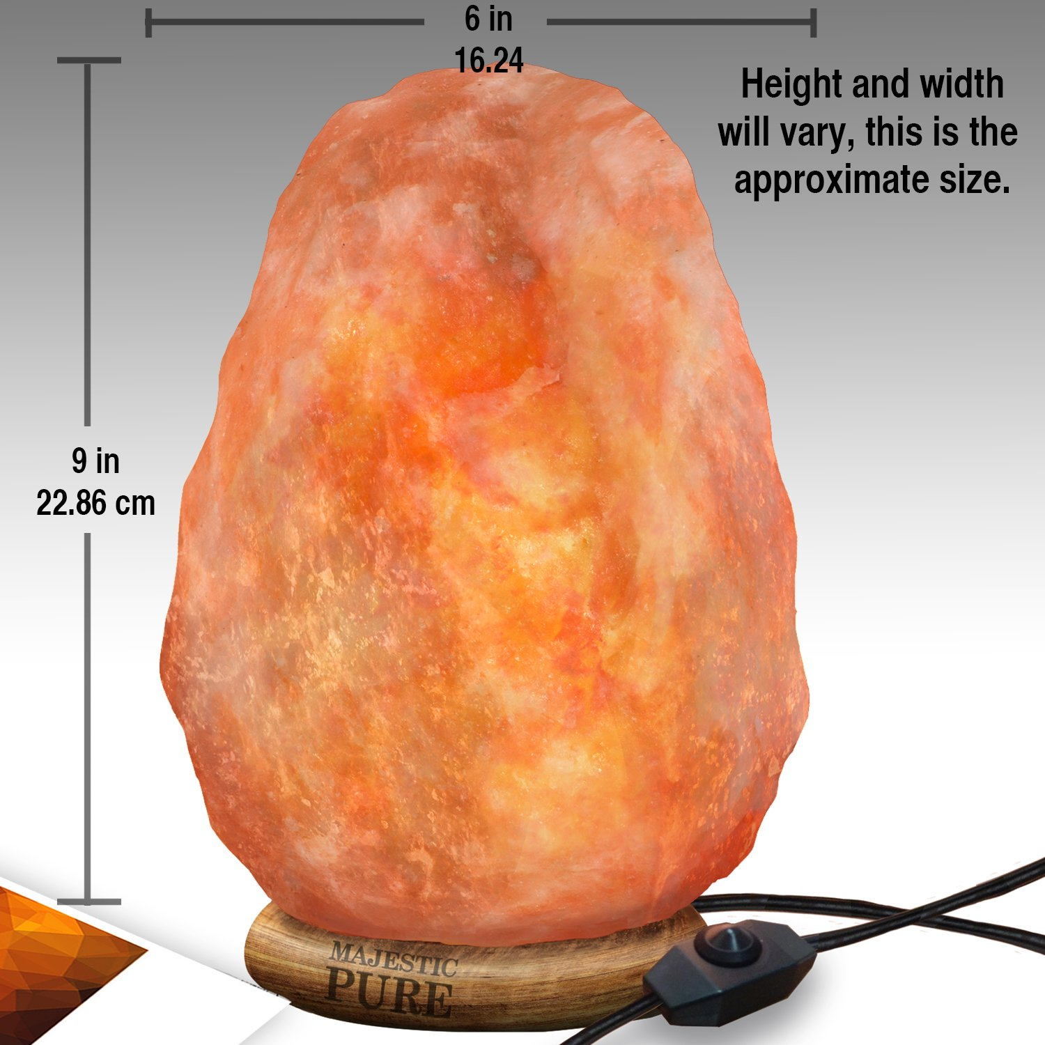 Majestic Pure Himalayan Salt Lamp - Natural Pink Salt Rock Lamp, Hand Carved, Wooden Base, Brightness Dimmer, 3 Bulbs, UL-Listed Cord and Gift Box, 8-11 lbs by Majestic Pure (Image #1)
