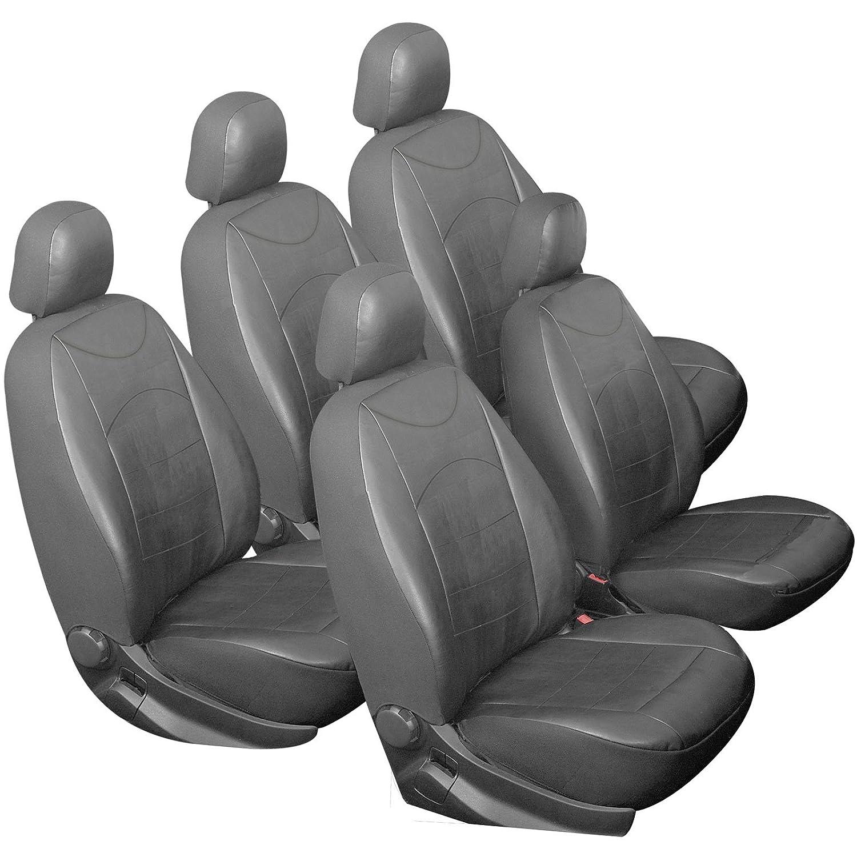 EUGAD Juego Completo de 5 Piezas Fundas Asiento para Coche Universal Cubreasiento de Automovil Delanteros y Traseros Crema 0039QCZT-5