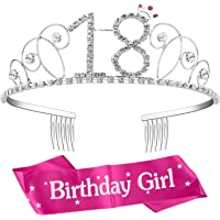 ZWOOS Tiara Cristal Diadema Corona Cumpleaños Corona Princesa Decoracion fiesta Feliz Cumpleaños de Número 18 con Satin…