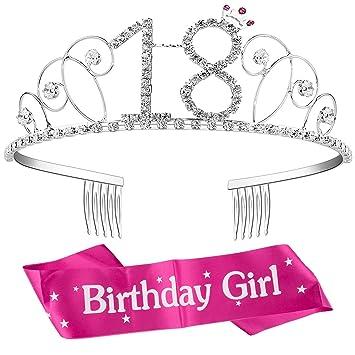 ZWOOS Tiara Cristal Diadema Corona Cumpleaños Corona Princesa Decoracion fiesta Feliz Cumpleaños de Número 18 con Satin Sash