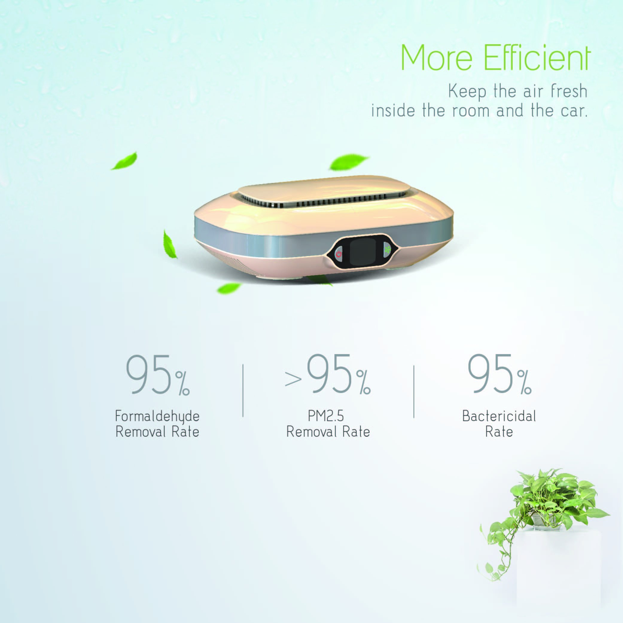 Portable Car Air Purifier True HEPA Air Cleaner Formaldehyde Concentration Temperature,Humidity Display, Remove Smoke,Pollen for Room,Office,Hotel,Apartment,Baby Room,Elderly and Disable People