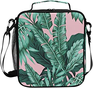 Pink Palm Leaves Lunch Box Tropical leaf Fashion Insulated Lunch Bag Reusable Cooler Meal Prep Bags Lunch Tote with Shoulder Strap for School Kids Girls Office Adults