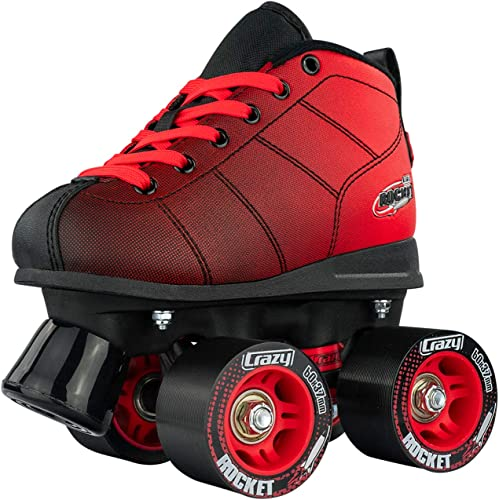Crazy Skates Rocket Roller Skates for Boys and Girls – Great Beginner Kids Quad Skates – Black and Red Patines