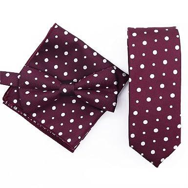 FlowerKui Conjunto de corbata de lazo de lunares color rojo vino ...