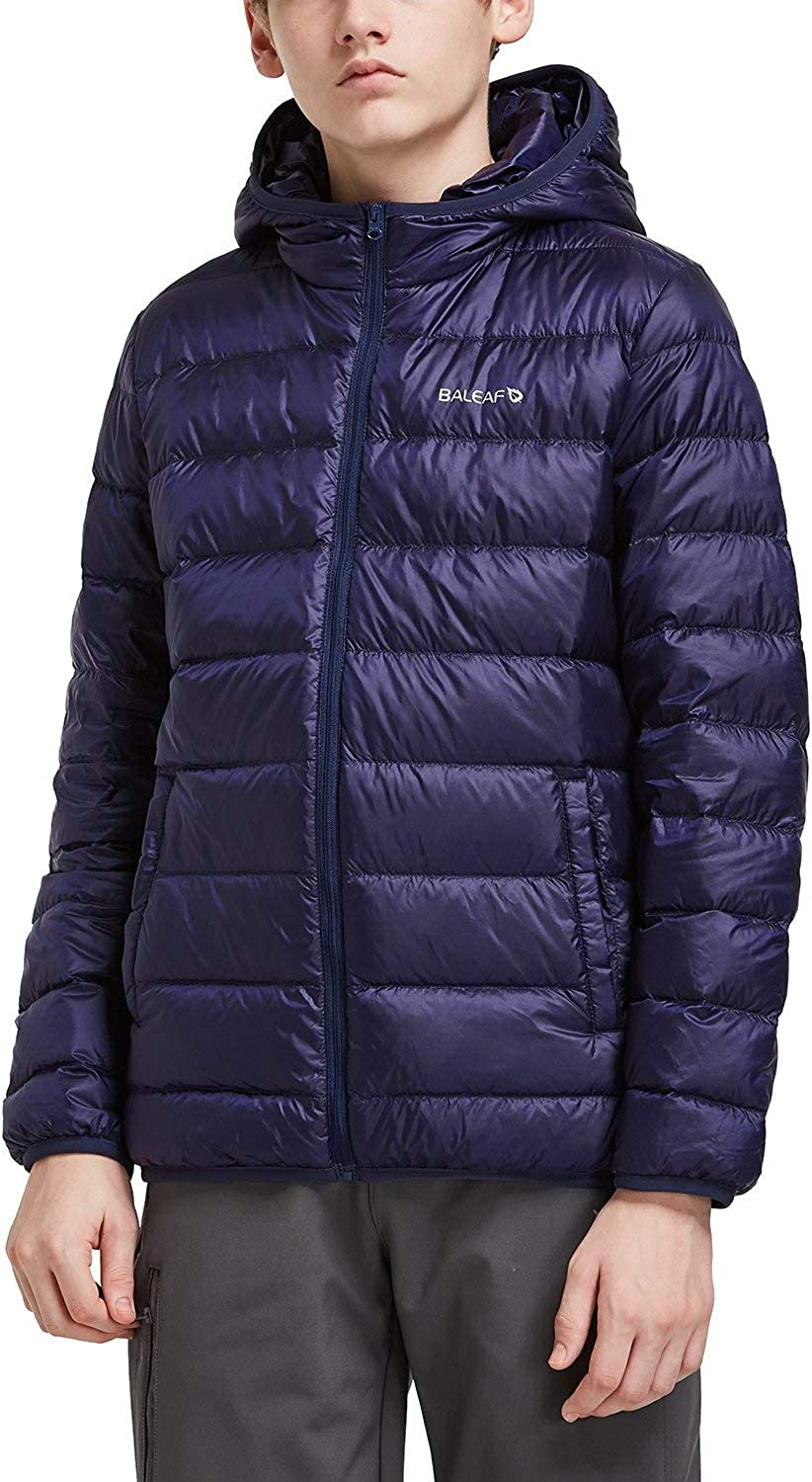BALEAF Youth//Boys Lightweight Water-Resistant Packable Puffer Hooded Down Jacket Outdoor Windproof Winter Coat