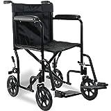 "Superworth Ultra Lightweight Wheelchair Folding Comfortable Portable Transit Travel 8"" Wheels 100kg Capacity"