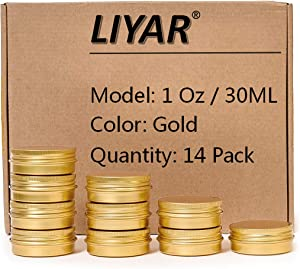 LIYAR TMO Aluminum Metal Tins 1 Ounce 30ml Round Tin Containers Storage Tins Metal Jars Empty Lip Balm Containers Small Containers with lids,Gold(Pack of 14)